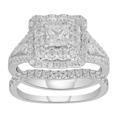 Womens 1 5/8 CT. T.W. Genuine White Diamond 14K Gold Engagement Ring