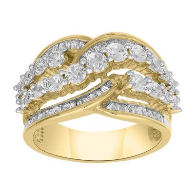 Womens 2 CT. T.W. Genuine Diamond 10K Gold Diamond Cocktail Ring