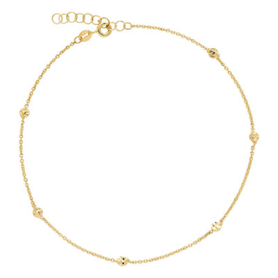 Made in Italy 14K Gold 10 Inch Solid Bead Ankle Bracelet