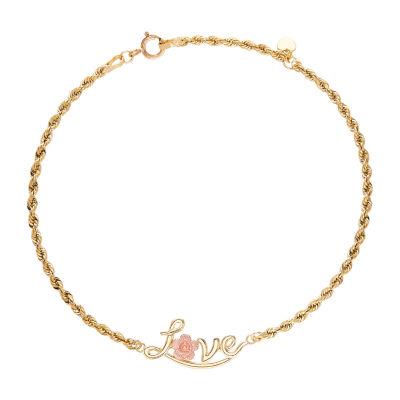 10K Gold 8 Inch Hollow Rope Link Bracelet