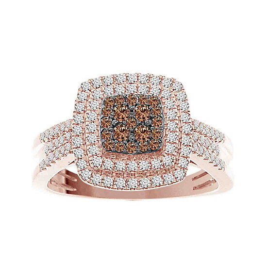 Womens 1/2 CT. T.W. Genuine Champagne Diamond 10K Rose Gold Cocktail Ring