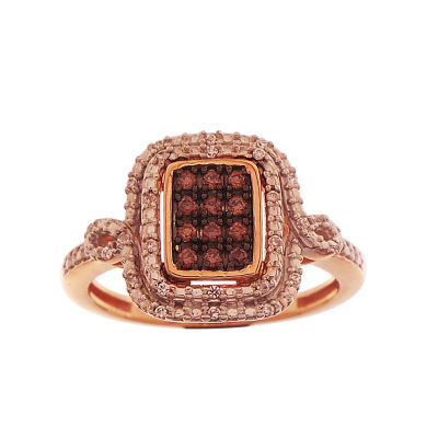 Womens 1/5 CT. T.W. Genuine Champagne Diamond 10K Rose Gold Cocktail Ring