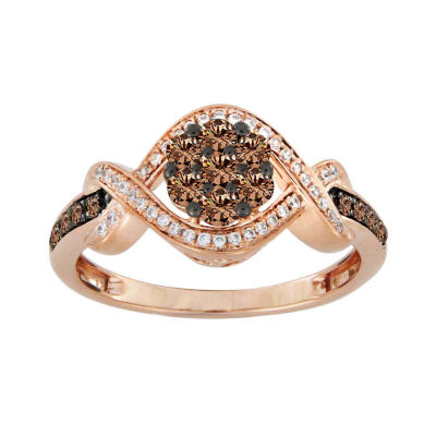 Diamond Blossom Womens 1/2 CT. T.W. Genuines Champagne Diamond 10K Rose Gold Cocktail Ring
