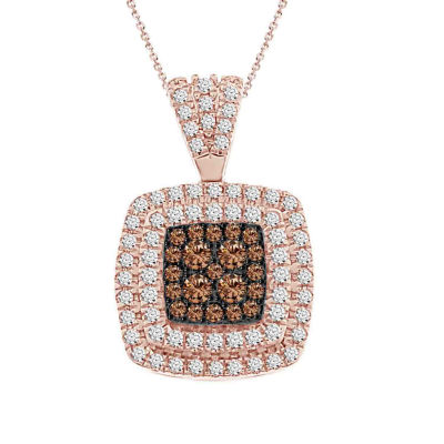 Womens 1/2 CT. T.W. Genuine Champagne Diamond 10K Rose Gold Pendant Necklace