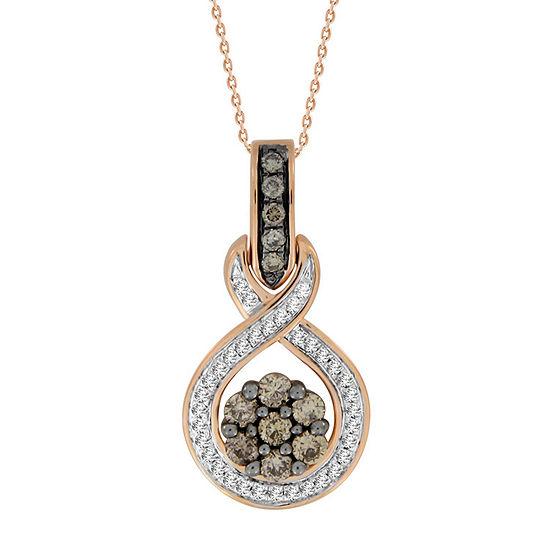 Diamond Blossom Womens 1/2 CT. T.W. Genuine Champagne Diamond 10K Rose Gold Pendant Necklace