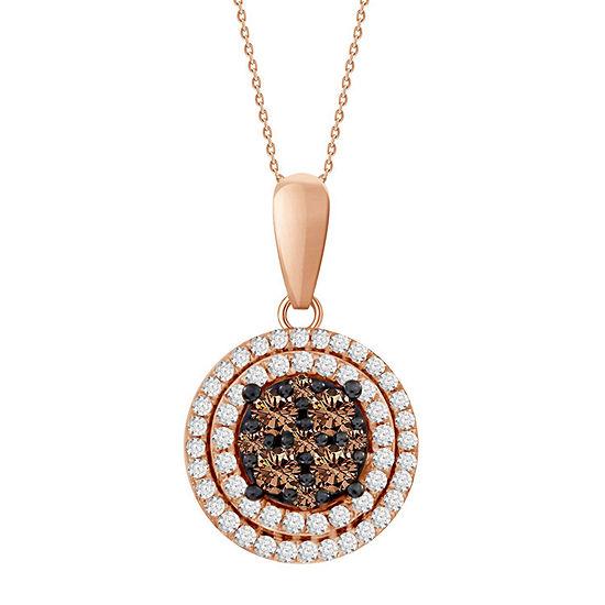 Womens 1/3 CT. T.W. Genuine Champagne Diamond 10K Rose Gold Pendant Necklace