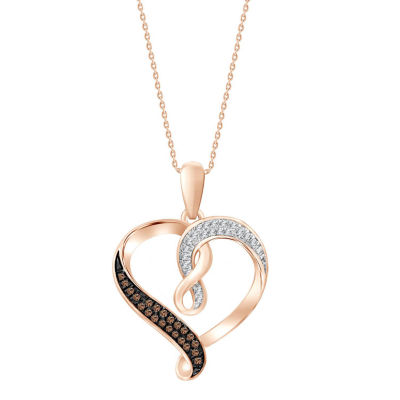 Womens 1/10 CT. T.W. Genuine Champagne Diamond 10K Rose Gold Heart Pendant Necklace