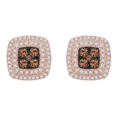 3/4 CT. T.W. Genuine Champagne Diamond 10K Rose Gold 11.1mm Stud Earrings