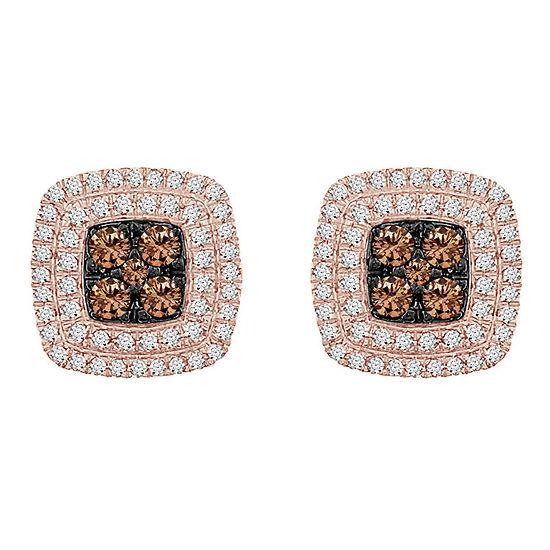 3 4 Ct Tw Genuine Champagne Diamond 10k Rose Gold 111mm Stud Earrings