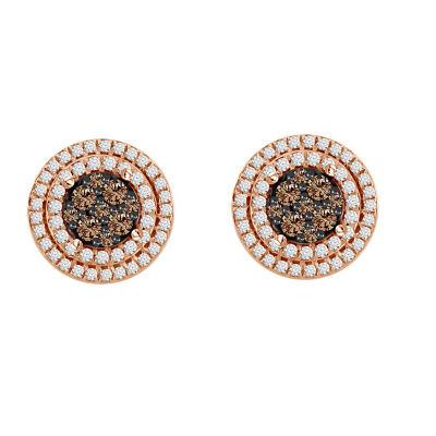 1/2 CT. T.W. Genuine Champagne Diamond 10K Rose Gold 10mm Stud Earrings