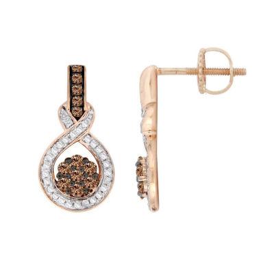 Diamond Blossom 1/2 CT. T.W. Genuine Champagne Diamond 10K Rose Gold Drop Earrings