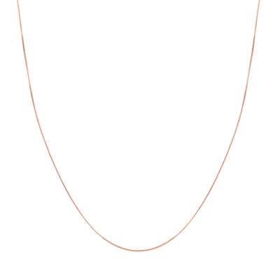 14K Rose Gold 18 Inch Hollow Box Chain Necklace