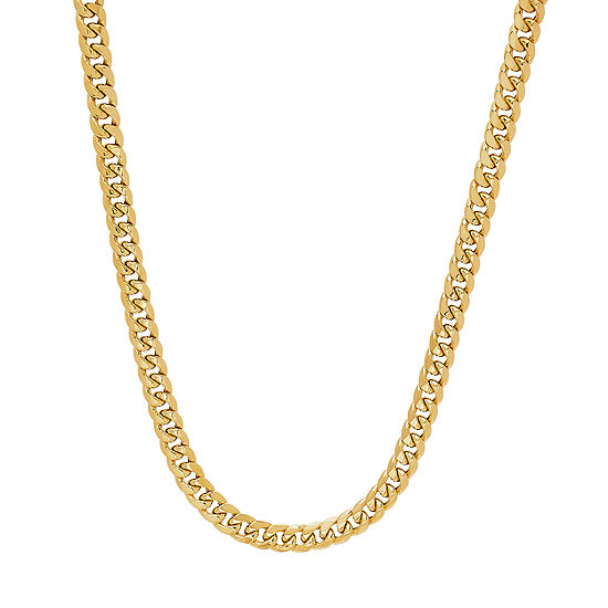 10K Gold 24 Inch Hollow Curb Chain Necklace