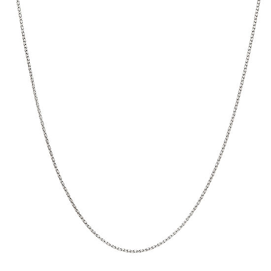 Made in Italy 14K White Gold 18 Inch Hollow Link Chain Necklace