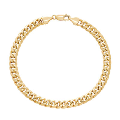 Made in Italy 10K Gold 8 1/2 Inch Hollow Curb Chain Bracelet