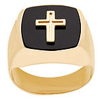 Womens Genuine Black Onyx 14K Gold Cross Signet Ring