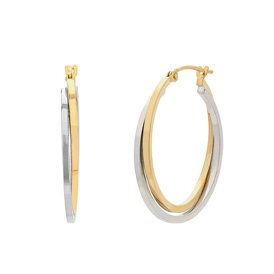 14K Two Tone Gold Hoop Earrings
