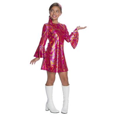 Girls Fuschia Swirl Disco Diva Costume