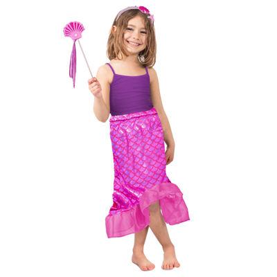 Girls Pink Mermaid Skirt Set Costume