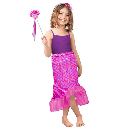 Girls Pink Mermaid Skirt Set Costume