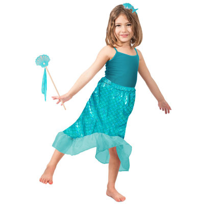 Girls Blue Mermaid Skirt Set Costume