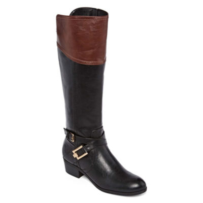Liz Claiborne Womens Trevi Riding Block Heel Zip Boots