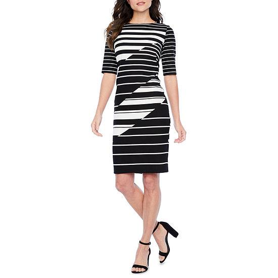 Danny Nicole Short Sleeve Striped Sheath Dress