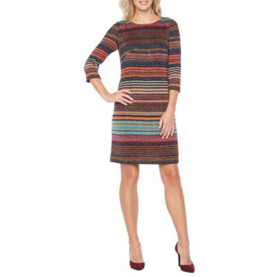 Perceptions 3/4 Sleeve Stripe Shift Dress