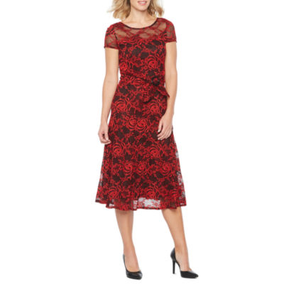 Perceptions Short Sleeve Floral Lace Fit & Flare Dress