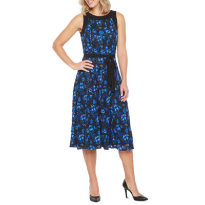 Perceptions Sleeveless Floral Lace Fit & Flare Dress