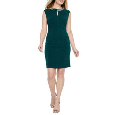 Scarlett Sleeveless Beaded Shift Dress-Petite