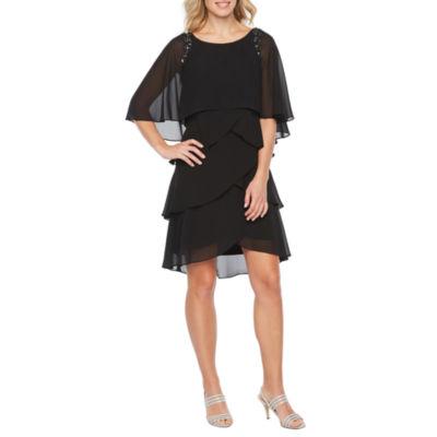 S. L. Fashions Short Sleeve Embellished Sheath Dress