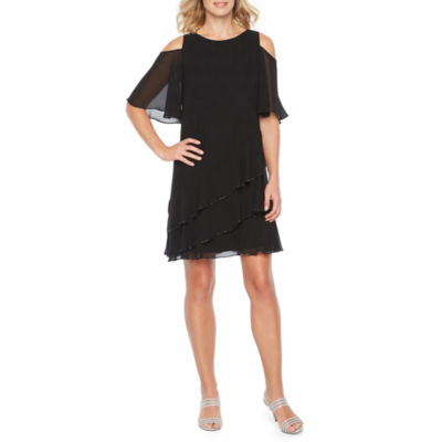 Onyx Short Sleeve Cold Shoulder Beaded Shift Dress