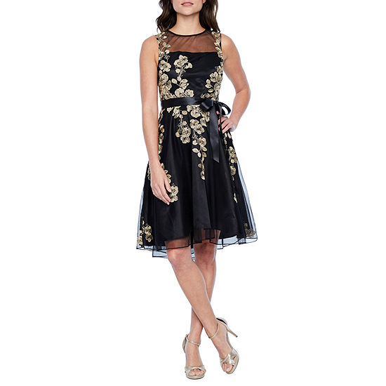 J Taylor Sleeveless Embroidered Floral Fit Flare Dress