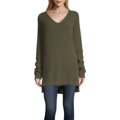 a.n.a Long Sleeve V-Neck Sweater with Lacing - Tall