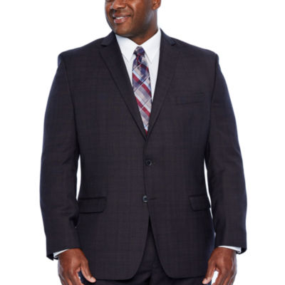 Collection by Michael Strahan Burgundy Plaid Stretch Suit Jacket-Big and Tall