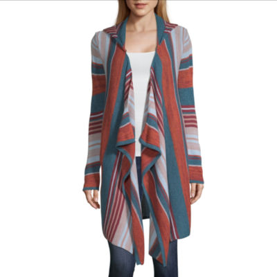 Almost Famous Womens Hooded Neck Long Sleeve Open Front Cardigan-Juniors