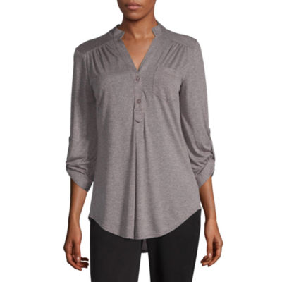by&by Womens V Neck Elbow Sleeve Knit Blouse-Juniors