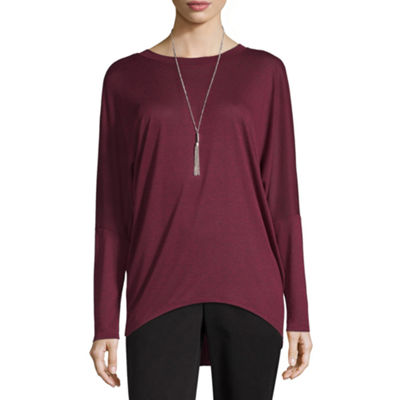by&by Long Sleeve Crew Neck Knit Blouse-Juniors