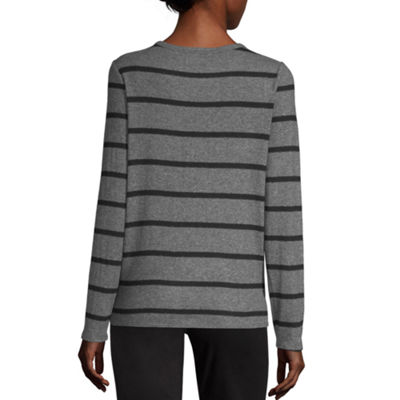 by&by Womens Scoop Neck Long Sleeve Striped Layered Sweaters-Juniors