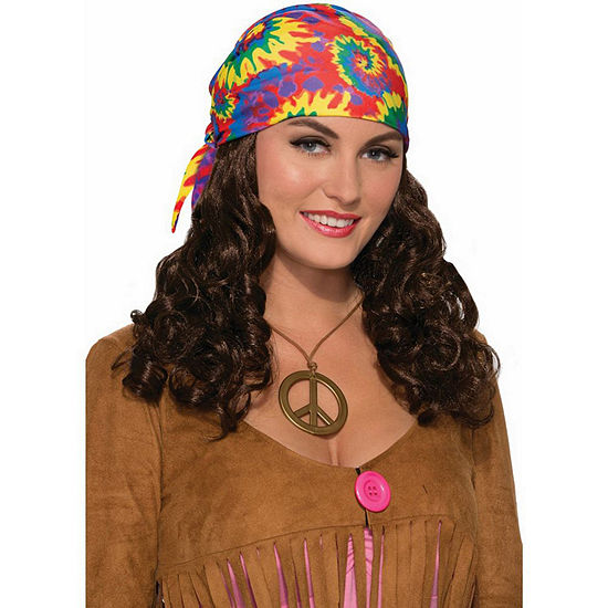 Hippie Adult Wig With Headscarf Dress Up Accessory