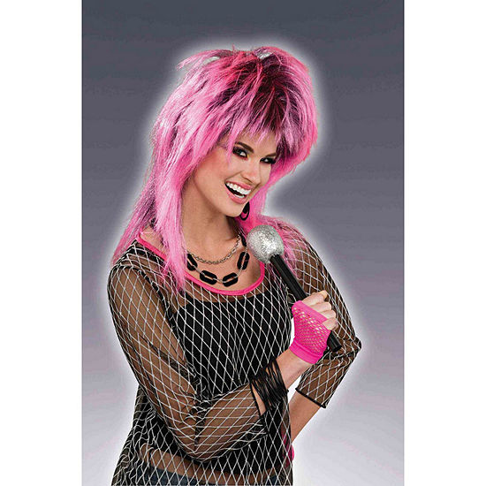 80s Electric Pink Adult Wig Dress Up Accessory