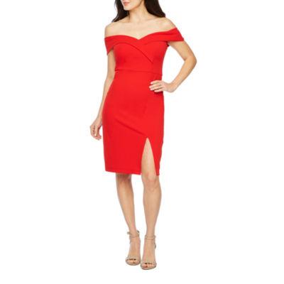 Premier Amour Short Sleeve Off The Shoulder Sheath Dress