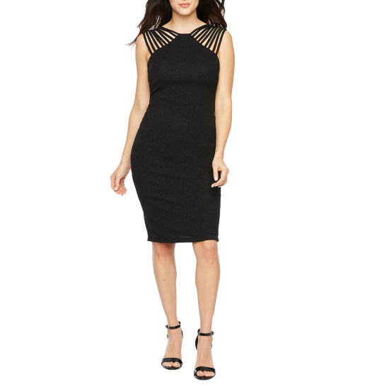 Premier Amour Sleeveless Glitter Knit Sheath Dress