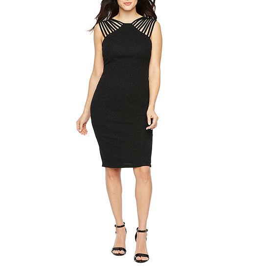 Premier Amour Sleeveless Glitter Knit Sheath Dress