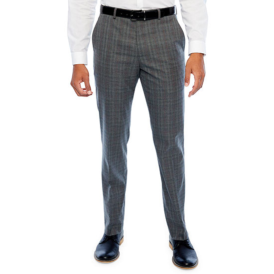 JF J.Ferrar Checked Classic Fit Stretch Suit Pants - Big and Tall