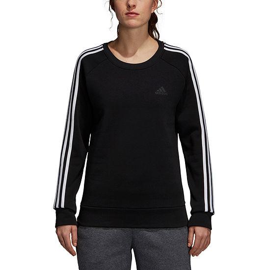 9a71d9c30e76 adidas Cotton Fleece 3 Stripe Round Neck Long Sleeve Sweatshirt - JCPenney