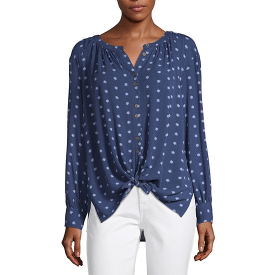a.n.a Tie Front Long Sleeve Top- Tall