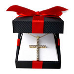 Womens 1 CT. T.W. Genuine White Diamond 10K Gold Cross Pendant Necklace