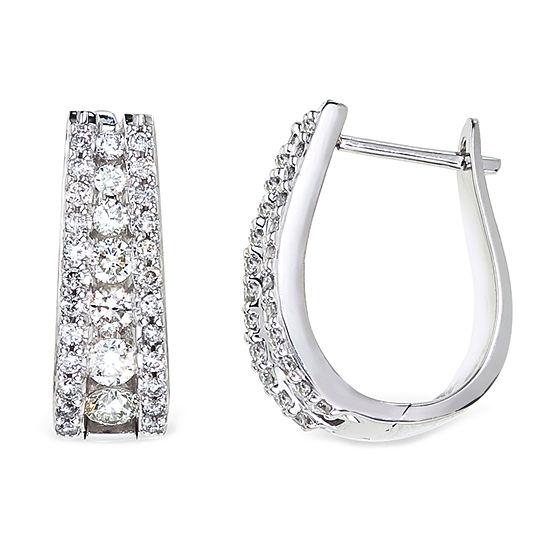 1½ CT. T.W. Certified Diamond 14K White Gold Hoop Earrings